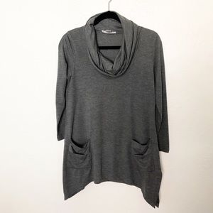 August Silk Cowl Neck 3/4 Sleeve Gray Sweater S